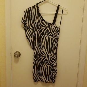 Black and white zebra dress.